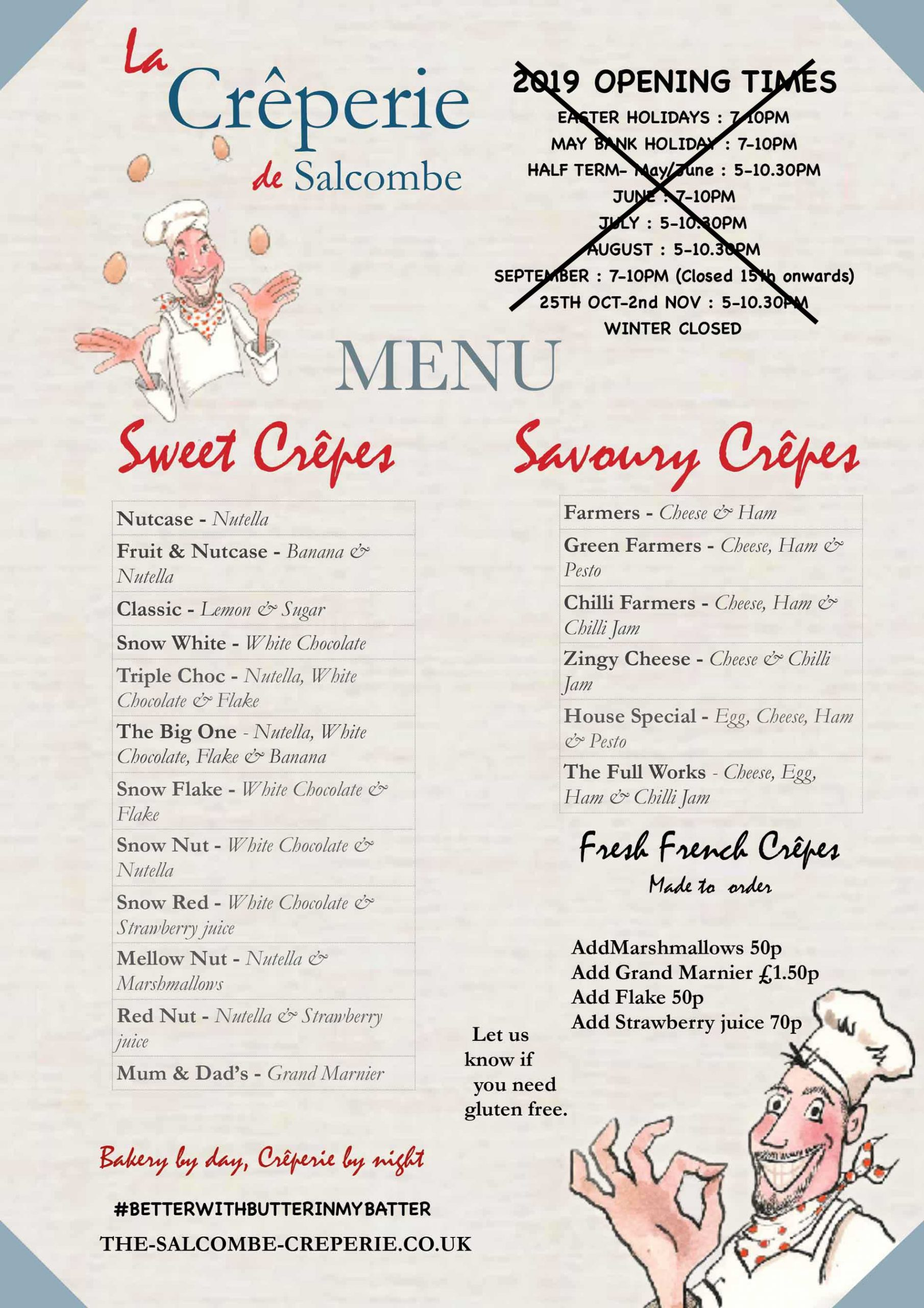 salcombe creperie menu